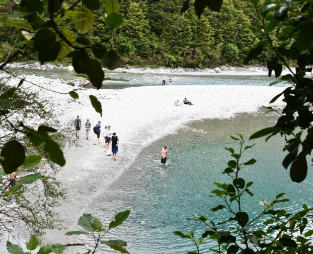 The Blue Pools Track, near Makarora, was busy on Monday PHOTO: LAURA SMITH
