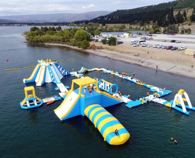 The new Kiwi Water Park in Lowburn near Cromwell is proving very popular. PHOTO: STEPHEN JAQUIERY
