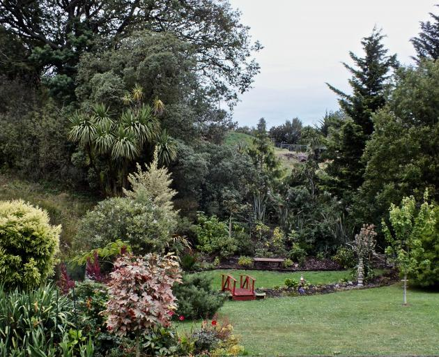 The rear of Stuart and Lesley Brown's Waikouaiti garden ''borrows'' tall trees from ...