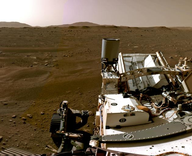 A portion of a panorama made up of individual images taken by Navigation Cameras aboard the rover...
