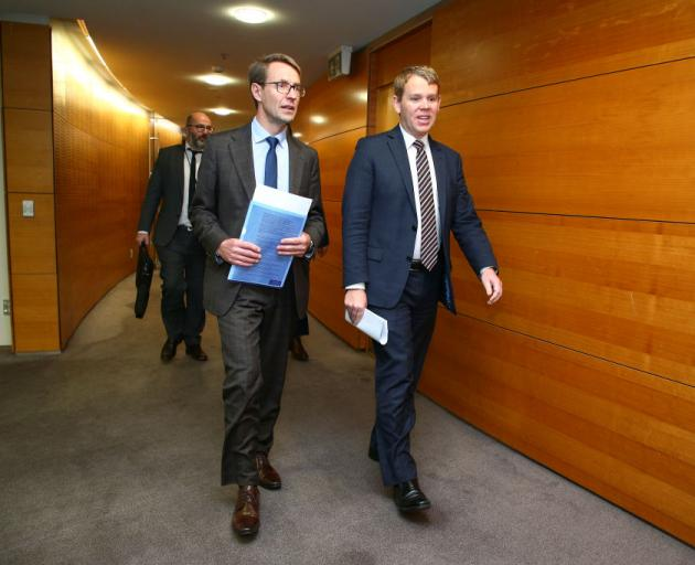 Director general of health Dr Ashley Bloomfield arriving with Health Minister Chris Hipkins for...