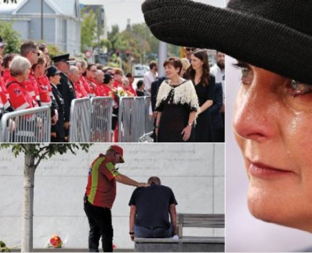 Governor-General Dame Patsy Reddy and Prime Minister Jacinda Ardern (top left) speak to emergency...