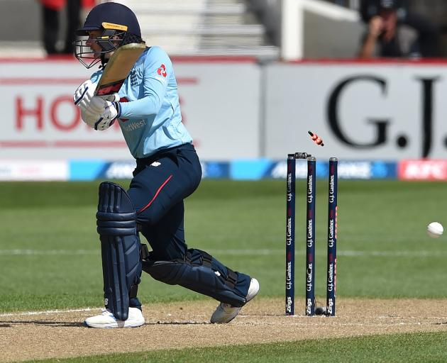 England opener Danni Wyatt is bowled by White Ferns seamer Jess Kerr in a one-day international...