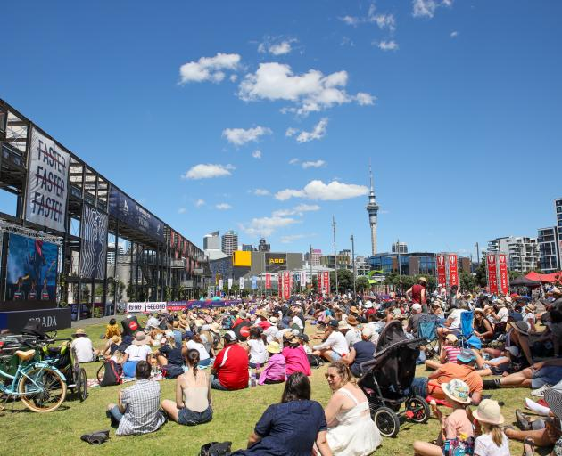 Spectators at Auckland's Prada Cup fan zone. Photo: Getty Images