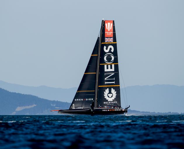 Ineos Team UK during their win over Luna Rossa in Race 6 Saturday. Photo: Getty Images