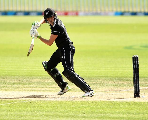 Amy Satterthwaite, of New Zealand, steers the ball late during her unbeaten innings of 119...