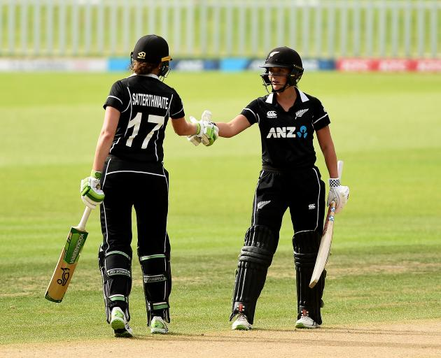 Amy Satterthwaite and Amelia Kerr put on a strong partnership chase down England's total. Photo:...