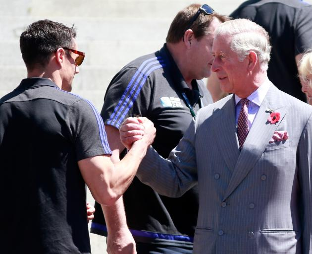 Dan Carter is congratulated by Prince Charles in Wellington in 2015. Photo: Getty Images