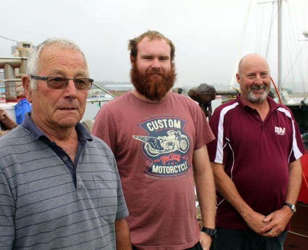 Safe ashore at the Blaketown lagoon is the crew of Danaan, Dave Hall (left), of Central Otago,...