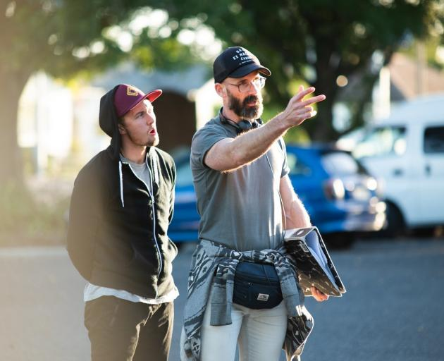 Director Max Currie (right) and Elz Carrad on set.