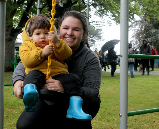 Isis Jennings, of Invercargill, pushes her son Logan (2) on a swing. PHOTOS: LUISA GIRAO