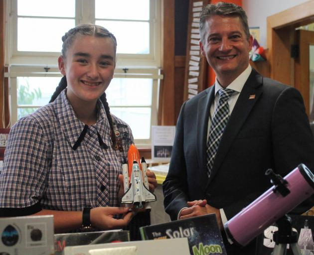Southland Girls' High School pupil Sophie Ineson (12) hosted US embassy Charge d'Affairs Kevin...