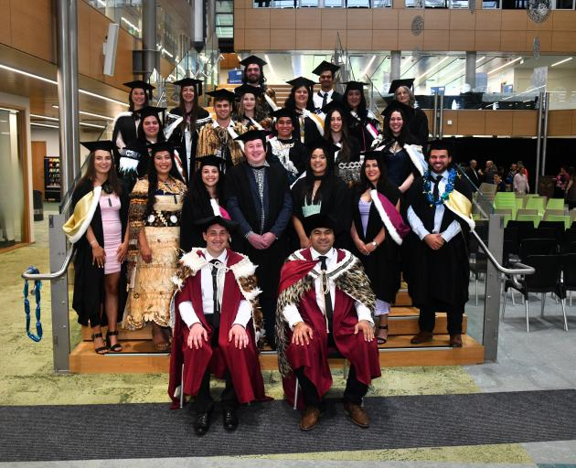University of Otago graduates who took part in Te Heika Pounamu 2019, the university's graduation...