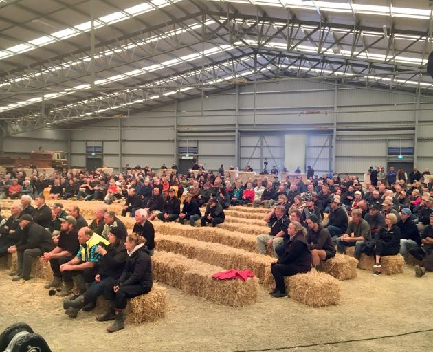 Farmers gather at a meeting in Waimumu, near Gore, yesterday to hear about new freshwater rules...