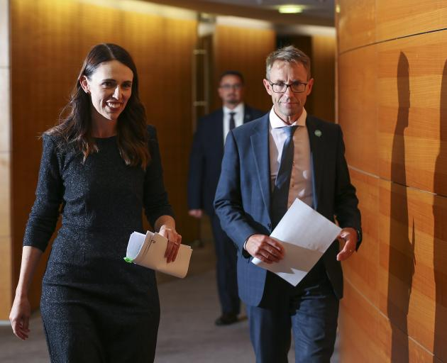 Prime Minister Jacinda Ardern and director-general of health Dr Ashley Bloomfield arrive at a...