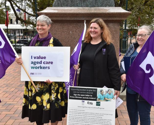New Zealand Nurses Organisation members (from left) Karyn Chalk, Colette Wright and Rhonda Tosh...