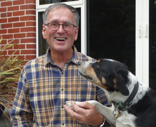 John Campbell and his dog, Jan, at his farm at Pleasant Point. PHOTO: NATASHA PARRANT