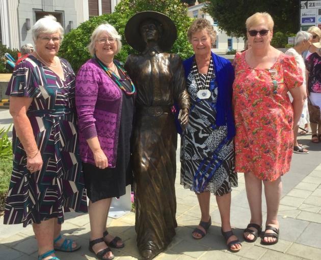 Mid Canterbury Federation of Women's Institute members (from left) Mavis Wilkins, Jude Vaughan ...