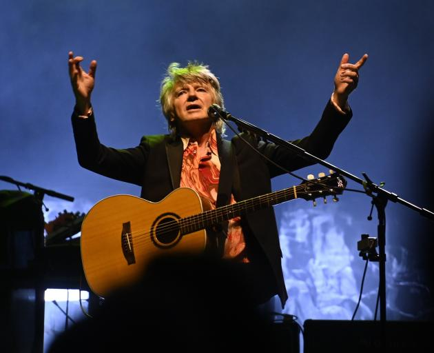 Crowded House frontman Neil Finn performs at a sold-out concert at the Dunedin Town Hall last...