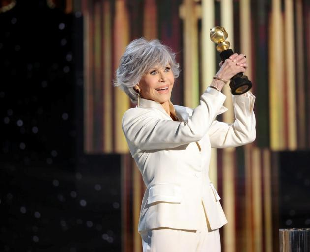 Jane Fonda accepts the Cecil B. DeMille Award in this handout photo from the 78th Annual Golden Globe Awards. Photo: Reuters