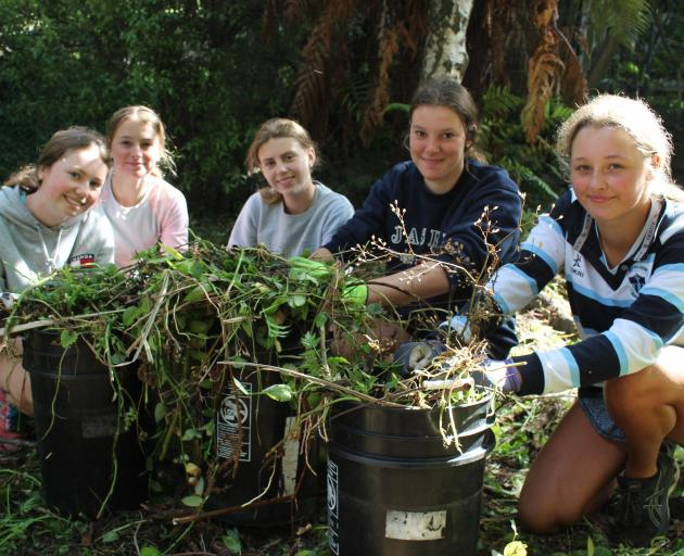 Villa Maria College students Katie Emms, Gabby Kennedy, Lucy Hine, Annika Palmer and Minnie...