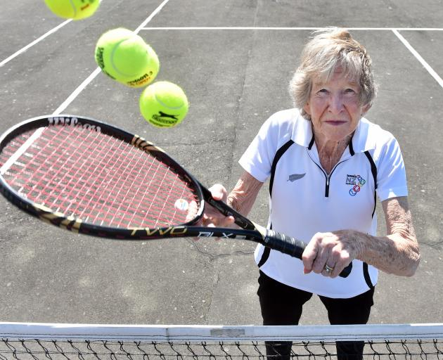 Dunedin tennis player Jean Stevens with the tools of her trade at the St Clair Tennis Club courts...