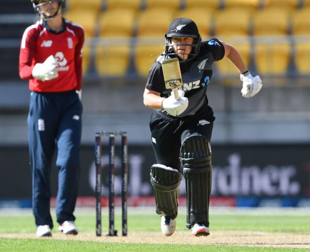 Leigh Kasperek of the White Ferns runs during game two of the International T20 series against England. Photo: Getty Images