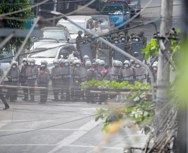 There was a heavy police and army presence in Yangon. Photo: Reuters