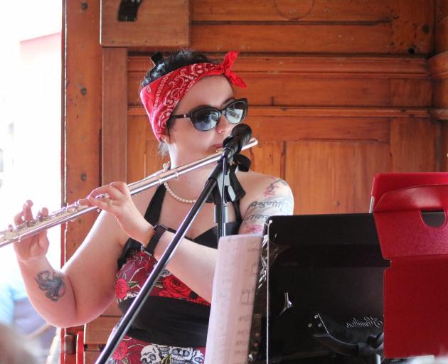 Waimate singer Fallout Girl (Suzie Paulin) performed on the Oamaru Steam and Rail train...
