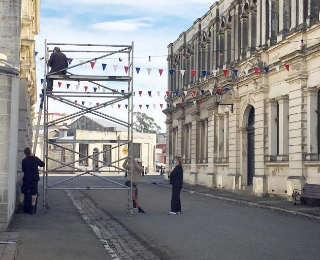 Film crew set up in Oamaru's Victorian precinct for the production of a Netflix movie. PHOTO:...