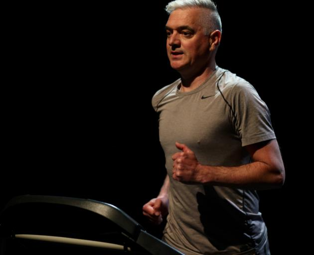 Playwright and performer Michael Metzger on the treadmill for The Changing Shed. PHOTOS: JORDAN...