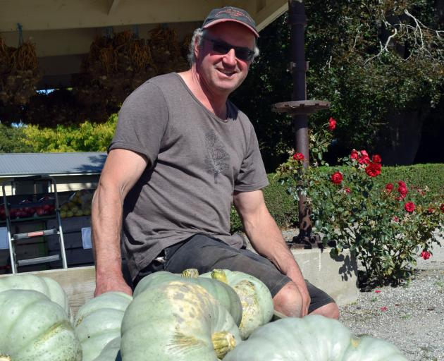 Peirce Orchard owner Darryl Peirce relaxes on a bin of pumpkins harvested on his farm in Millers...