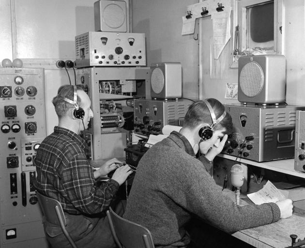 Ted Gawn and Peter Mulgrew in the radio room. Photo: Antarctica NZ pictorial collection