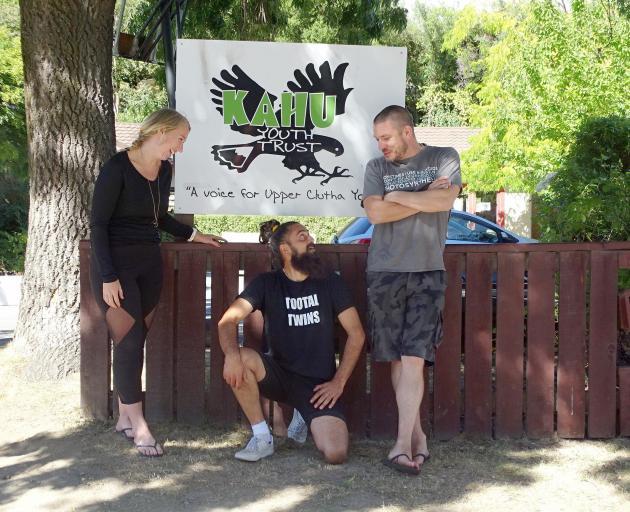 Youth workers Emma Hunter, Hemi Cordell and Richard Elvey, from Wanaka's Kahu Youth Trust, enjoy...