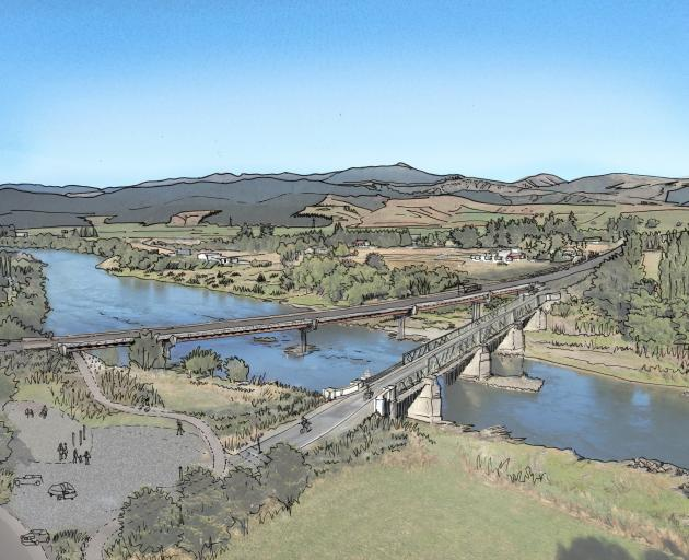 A concept drawing of the proposed  $20million Beaumont Bridge, alongside the existing bridge....