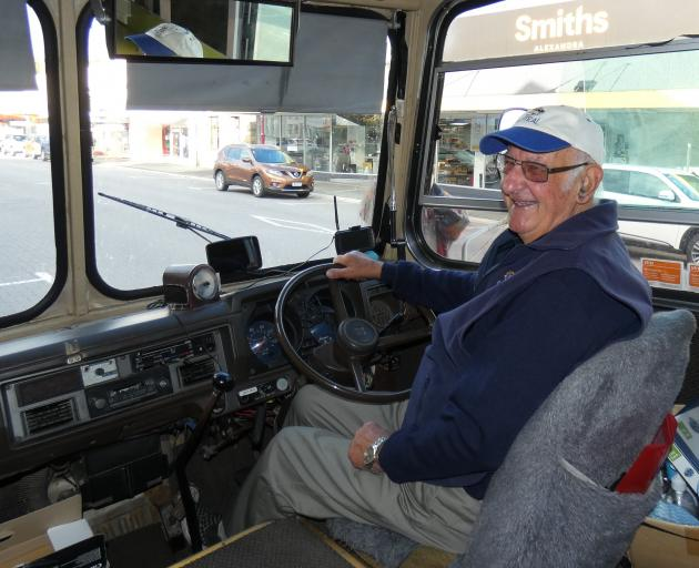 Earle Bailey, of Alexandra, gets comfortable in the driver's seat of the former  school bus now...