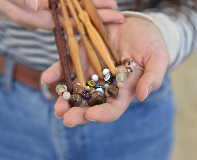 The lace bobbins given to artist Arielle Walker by her Nana. PHOTO: GREGOR RICHARDSON