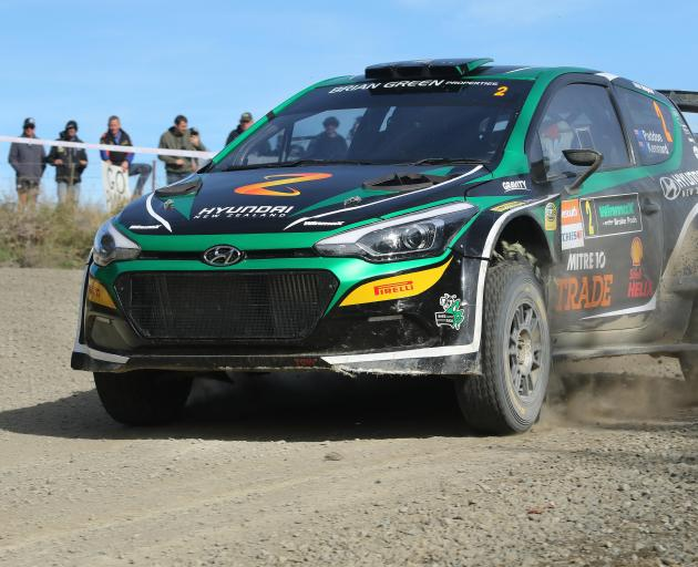 Otago Rally winner Hayden Paddon drives in special stage 11 yesterday morning. Paddon's speed...