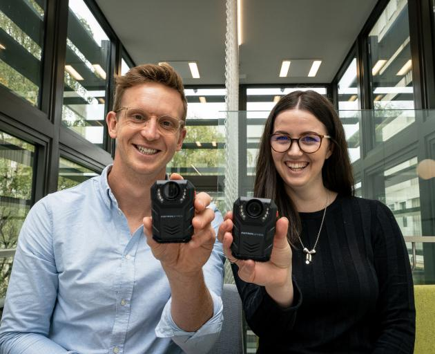 Bedtime Electronic Devices (BED) study co-leaders Brad Brosnan and Shay-Ruby Wickhamdisplay infrared cameras that record children's bedtime screen use. PHOTO: SUPPLIED