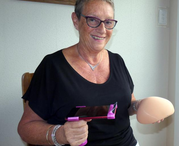 Showing a personalised breast prosthesis is Hazel Sycamore, of Roxburgh.PHOTO: SIMON HENDERSON