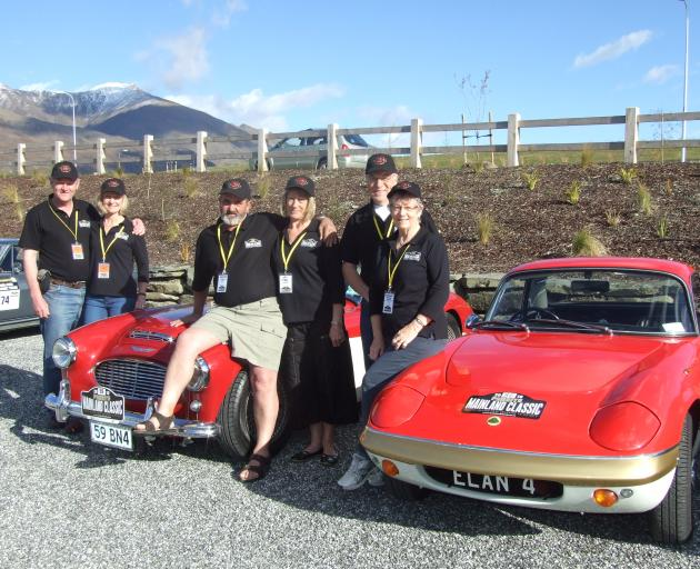 Mainland Classic Tour organisers Dave and Christine Mehrtens, of Dunedin (at left), are joined by...