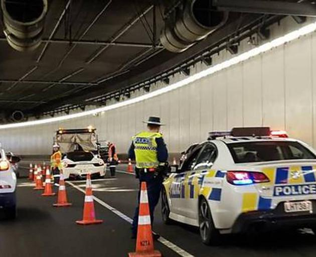 The crash in the Victoria Park tunnel caused lengthy delays for northbound drivers. Photo:...