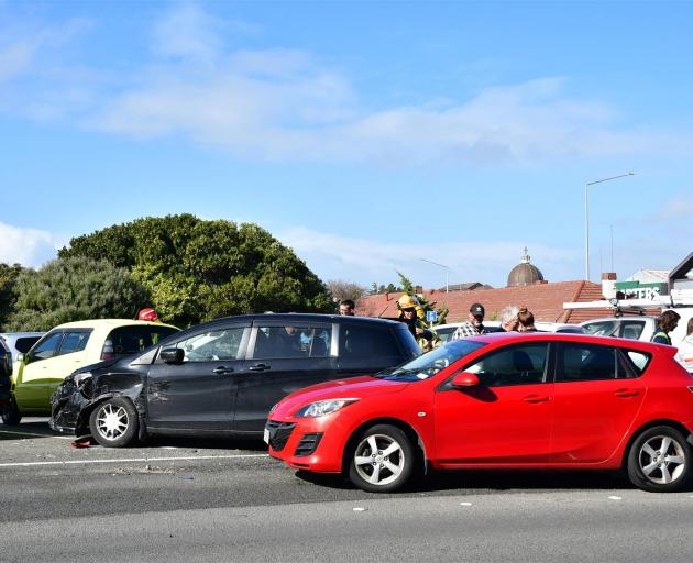 Three cars were involved in a crash near Kmart in Invercargill today. Photo: Laura Smith