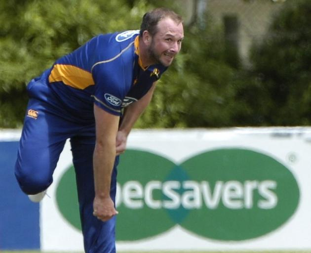 Darren Stevens bowls for Otago against Auckland in a 50-over match at Oamaru's Centennial Park in...