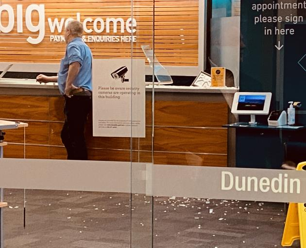 The reception area was full of broken glass. Photo: Craig Baxter