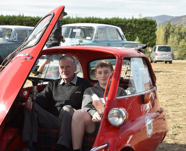 Alistair Lobb and his grandson James Alexander (15), both of Ashburton, in Mr Lobb's 1957 BMW...