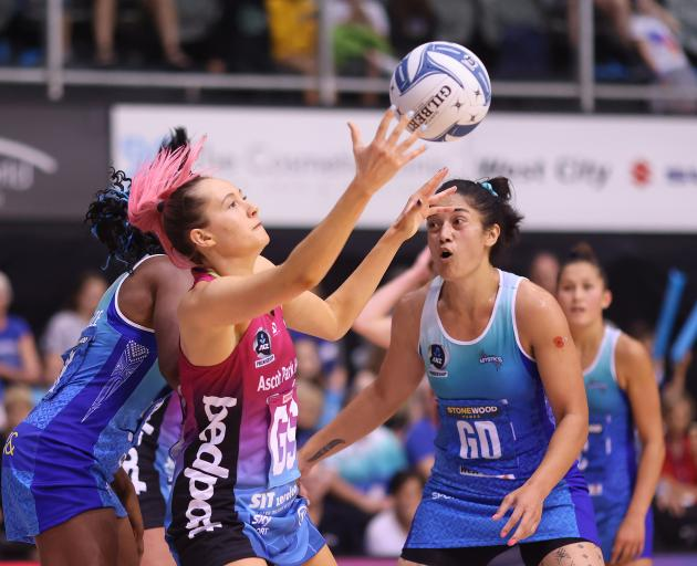 George Fisher of the Steel takes a pass during the ANZ Premiership round 2 match between the...