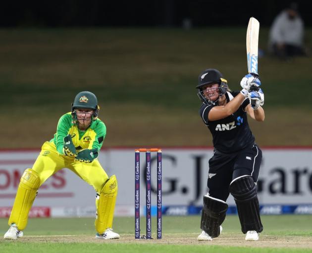 White Ferns opener Hayley Jensen bats during yesterday's ODI against Australia. Photo: Getty Images