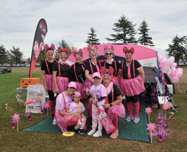The boobalicious Paddlers, members of the Abreast of Life Dragon Boat team, from Christchurch,...