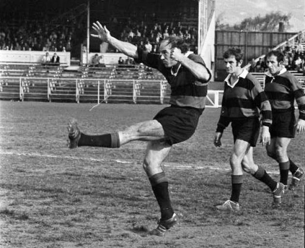 Ian Penrose kicking a penalty in the 1970 Canterbury v Southland Ranfurly Shield match at...